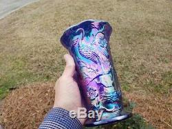 Fenton Cobalt Blue Carnival Glass Peacock Vase