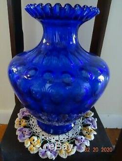 Fenton Cobalt Blue Coin Dot Large Vase 11 1/2 Gorgeous