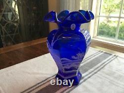 Fenton Cobalt Blue Mary Gregory withWhite Deer & Snow Scene Vase