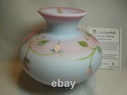 Fenton Connoisseur Collection 2011 Drifting Floral Vase on Blue Burmese