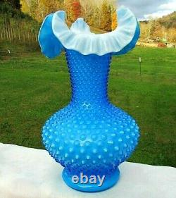 Fenton Glass 1960's Opaque Overlay Blue Hobnail Vase 11H GORGEOUS