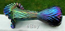 Fenton Glass Blue-Amethyst Carnival Iridescent Crimped Fan Vase 11.5T x 6.5W