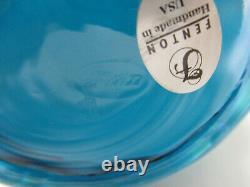 Fenton Glass Cased Iridescent Turquoise Blue & White Melon Vase Pitcher HTF