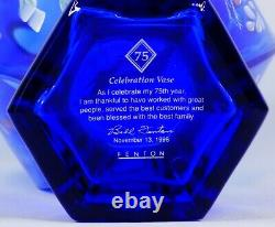 Fenton Glass Cobalt Blue Hexagon Vase Bill Fenton 75 Year Celebration 1998