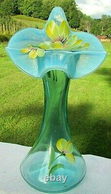 Fenton Glass Hand Painted Daffodil Jack in the Pulpit-Tulip Vase 11H #66/100