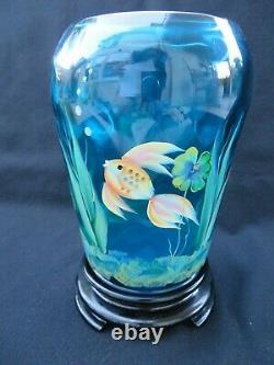Fenton Glass Hand Painted Gold Koi Betta Fish Flip Vase in Blue w Stand 7 1/2