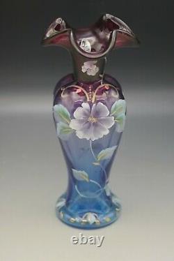 Fenton Glass Mulberry Blue Connoisseur Evening Vine Vase #346/7500 Ka Plauche