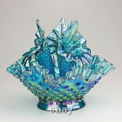 Fenton Hobnail Epergne, Shape 3801, Teal Marigold (Iridescent Blue)