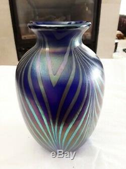 Fenton Iridescent Cobalt Art Glass Vase Dave Fetty Design 9 SALE