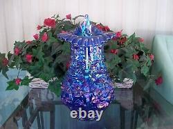 Fenton, Large JIP Poppy Show Vase, Cobalt Blue Irridized, Imperial Glass HTF