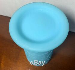 Fenton Milk Blue Glass Vase Peacock Floral Flowers Art Turquoise Aqua