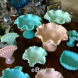 Fenton Pastel Hobnail Milk Glass Fan Vases Crimped Edge in Pink Blue Green HTF