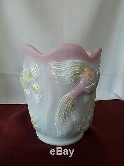Fenton Rare 2006 FAGCA Blue Burmese Atlantis Vase Signed A Farley