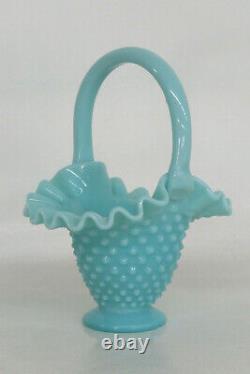 Fenton Style Hobnail Turquoise Aqua Blue Brides Basket Vase 2056B