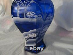 Fenton Vase with Deer in snow 9''tall Exc. Condition Blue Color