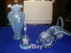 Fenton art glass basket-signed, clock, bell and vase-signed. Great condition