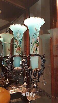 Figural Meriden Silver plate Victorian Cherub Palm Blue Art Glass vases Antique
