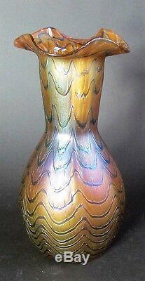 Fine 8.25 KRALIK BLUE WAVE Bohemian Art Nouveau Glass Vase c. 1902 antique +