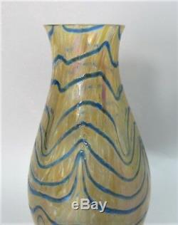 Fine KRALIK ART NOUVEAU Bohemian Art Glass Vase Blue & Orange c. 1910 antique