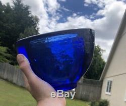 Fire & Light Art BLUE Recycled Art Glass Heavy Wide-Brim Vase Sculpture