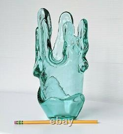 Fire and Light Originals Recycled Glass Aqua Splash Vase Signed Gorgeous Retired