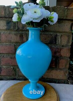 French Blue Opaline Glass Decanter Vase Apothecary
