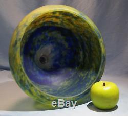 French Daum Nancy Mottled Blue Yellow Glass Large Pedestal Bowl/Vase Circa 1900