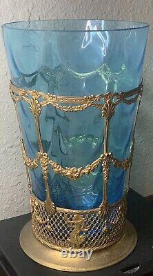 French Gold Brass Gilt Ormolu Filigree Blue Glass Vase Carr & Co Empire Ware VTG