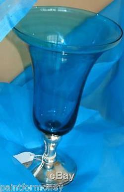 GORHAM VINTAGE STERLING SILVER 9 1/2 BLUE GLASS VASE trumpet shape