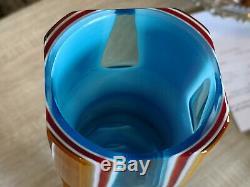 Galliano Ferro vase italian art glass Murano vintage 50s midcentury orange blue