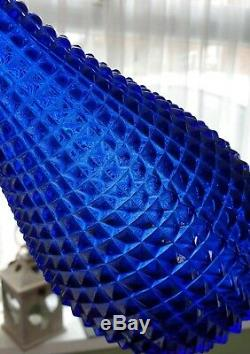 Genie Bottle Vase Decanter blue hobnail style 42cm