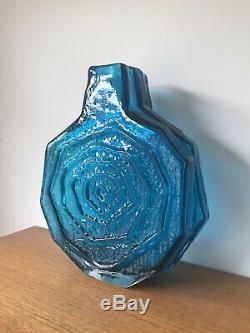 Geoffrey Baxter For Whitefriars Kingfisher Blue Banjo Glass Vase