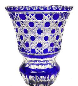 German Cobalt Blue Cut to Clear Glass Large Footed Vase, circa 1950