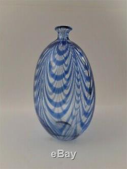 Gino Cenedese Murano 1984 Signed Blue Wave Glass Vase MURANO VETRI 8 x 5-1/2