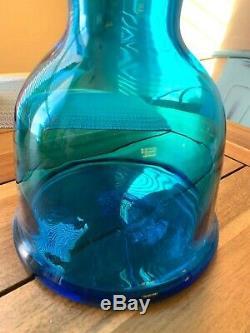 Glass Blenko Decanter, Wayne Husted. Blue, Aqua, Midcentury Vase, Decanter MCM