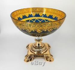 Gold pedestal crystal vase / Gift / Centerpiece / Fruit bowl / Home decorative