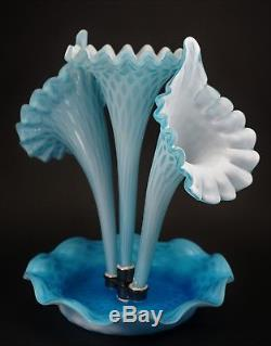 Gorgeous Blue Diamond Opalescent Art Glass 3 Horn Epergne Bowl and Vase