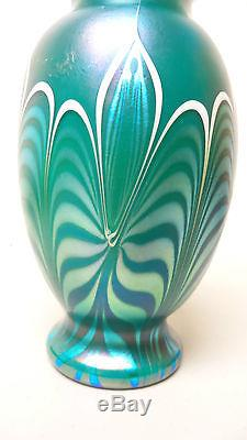 Gorgeous Orient & Flume Teal Blue Iridescent Art Glass Vase Signed, Dated 1980