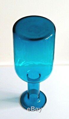 HOLMEGAARD GULVASE TURQUOISE BLUE BY OTTO BRAUER. 25.5 CM 10 inches