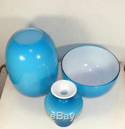HOLMEGAARD Per Lutken blue carnaby vase + PIET HEIN blue Vase and Bowl Denmark