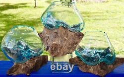 Hand Blown Fish Bowl Terrarium Vase Molten Recycled Glass & Teak Wood Bali Art