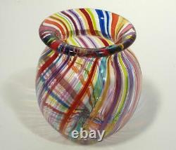Hand Blown Glass Art Bowl/vase, Dirwood Glass, Complex Murano Cane Process