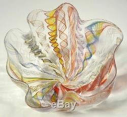 Hand Blown Glass Art Bowl/vase, Dirwood Glass, Complex Zanfirico Cane Process