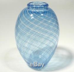 Hand Blown Glass Art Vase, Dirwood Glass, Shades Of Blue, Cane Reticello Process