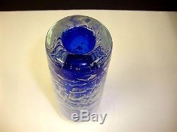 Handmade Skrdlovice Beranek 12 Czech Glass Cylinder Vase Air Bubble Mesh Blue