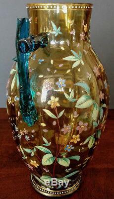 Harrach 1880's Glass Tankard Unique Amber w-Enamel Gold & a Crazy Blue Handle