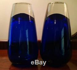 Heavy Cobalt Blue Glass Vases Pair of 2 Mid Century Modern Functional Art Forms