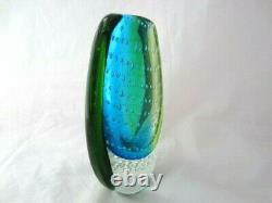 Heavy oval shaped Murano sommerso style art glass vase blues greens & bullicante
