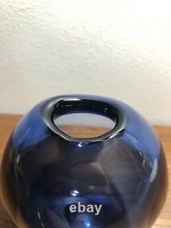 Holmegaard 1950s Signed Art Glass Majgrøn May Sapphire Drop Vase MCM Danish
