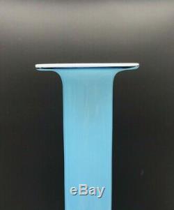 Holmegaard Carnaby Blue Cased Candlestick Vase 10-3/8 by Per Lutken